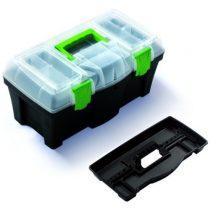 PROSPERPLAST Skrzynka narzędziowa Greenbox, 460x257x227 mm N18G.  Charakterystyka produktu:  Wytrzymały wzór skrzynki.  Solidne zapięcia.  Pokrywa posiada dwa wbudowane organizery, które posiadają po bokach specjalne ranty ochronne oraz za